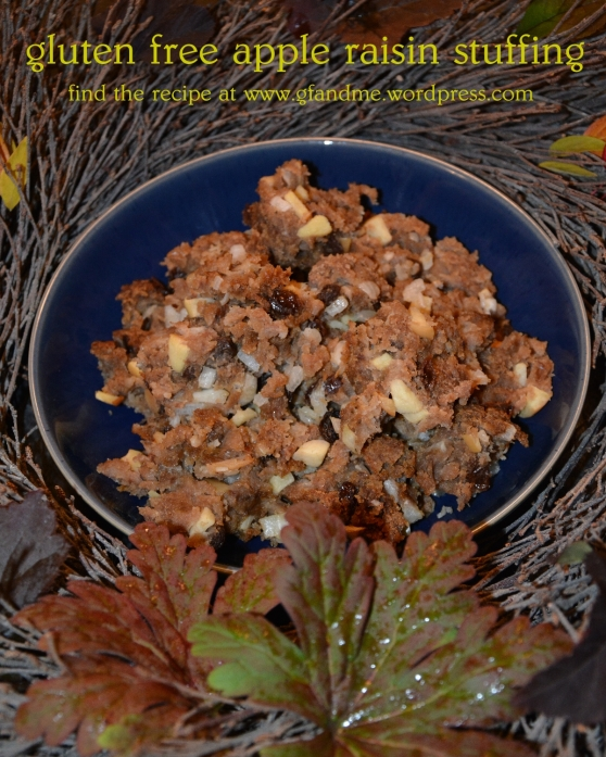 gluten free apple raisin stuffing. gf and me 2013.
