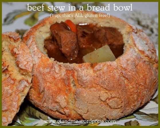 gluten free beef stew in gf bread bowl
